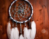 Dream Catcher - Whispering Moon - With Blue Frame, Natural Wool YarnWhite and White Feathers - Home Decor