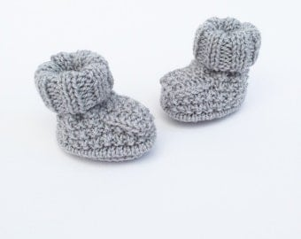 knitted baby booties, grey baby bootees, knitted baby shoes