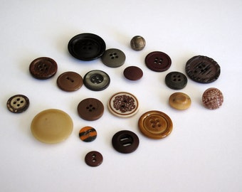 20 Fancy Craft Buttons in Assorted Browns 11mm-28mm