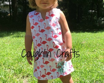 Monogrammed Flamingo Tunic Dress Sizes 12 Months- Size 10