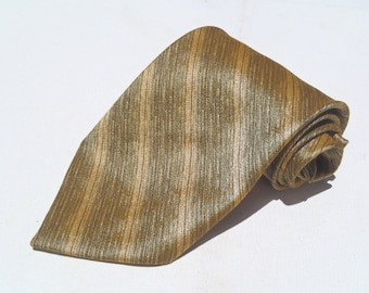 Vintage 1970s Wide Olive Green Polyester Tie with Gold Abstract Stripes by Wembley