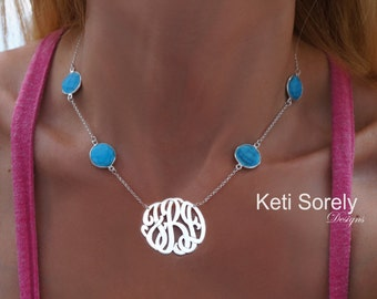 Silver Initials Necklace With Turquoise Stones - Handmade Monogram Initials - Also With Onyx, Pearls, Ruby & Amethyst Stone -Sterling Silver