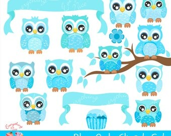 Cute Blue Owls Clipart Set