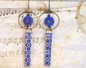 Blue Mosaic tiles earrings, Lantern earrings, Portuguese ceramics, Portuguese Tile jewelry, Sky lantern, Bohemian lamp, Azulejos, Azulejo
