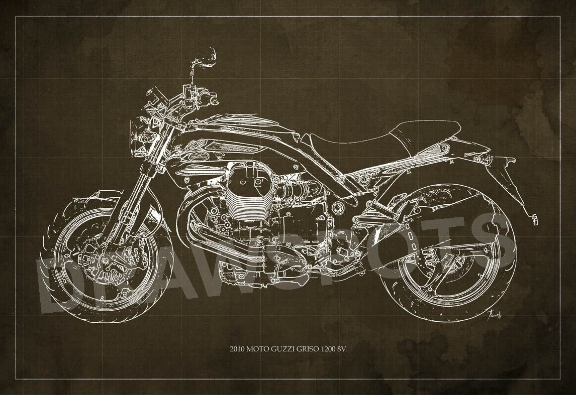 2010 moto guzzi griso1200 8v blueprint art print 8x12in and larger 2010 moto guzzi griso1200 8v blueprint art print 8x12in and larger sizes motorcycle art printoriginal drawing for men cave malvernweather Gallery