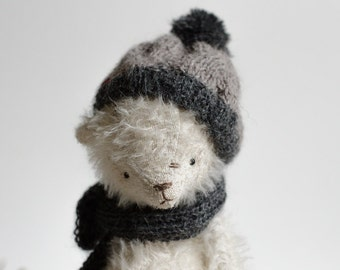 Made To Order Fluffy White Mohair Stuffed Animal Teddy Bear Gray Hat Pompom Knitted Scarf Toy 7 Inches