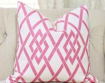 Pink Linen Trellis Geometric Scroll Pillow Cover - Pink Pillow Cover - Throw Pillow - Pink and White Decor - Motif Pillows