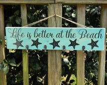 Life is Better at the Beach, Beach Sign, Beach Decor, Towel Rack, Towel Holder, Towel Hooks, Beach Sign, Home Decor, Bathroom Decor, Beach