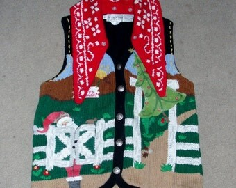 Ugly Christmas Sweater with Western Themed Size Large Women's Vintage Sweater Vest