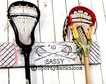Girls Lacrosse Pink Team Sports Lax Gift Customized Lacrosse Pink Personalized MTO Pink Sports Gift For Athlete Lax Stick Hanger Wall Hooks