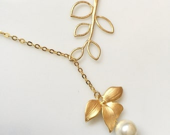 Branch with gold orchid flower necklace,orchid jewelry, flower necklace,bridesmaid gift,wedding jewelry,wedding necklace,best friend gift