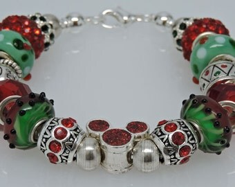 MERRY MICKEY CHRISTMAS:  European Style Lampwork Rhinestone Holiday Bracelet Red Silver Green