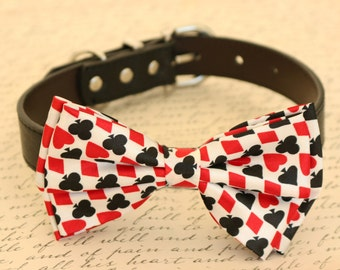 Dog bow tie, bow attached to dog collar, Hearts Diamonds, Black and Red, Poker, Alice In Wonderland, Dog lovers, Playing card, Dog collar