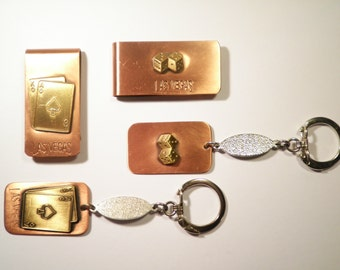 2 Sets of Copper Plated Las Vegas Money Clips with Key Rings