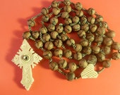 Antique  French Rosary / Chaplet  wooden  Beads with Stanhope Lourdes Religious Catholic collectible  jewelry ms/1
