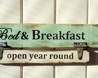 Country Rustic Vintage Aged Farmhouse Bed & Breakfast  Sign