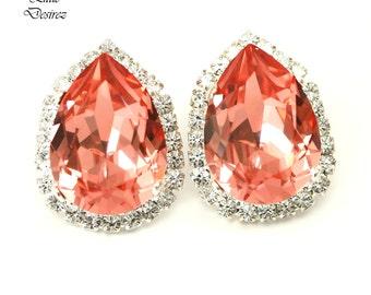 Coral Stud Earrings Peach Earrings Large Stud Earrings Swarovski Rose Peach Bridal Bridesmaid Coral Earrings Coral Wedding Jewelry CO31S