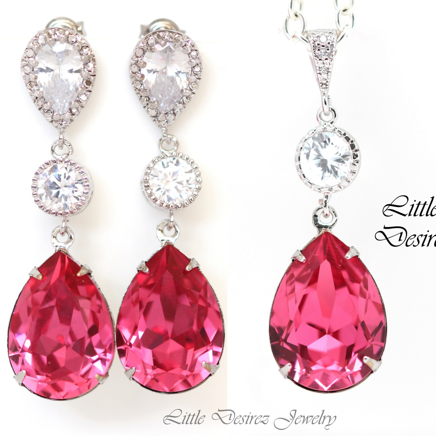Pink Jewelry Set Hot Pink Earrings Necklace Swarovski Crystal. Dangle Ankle Bracelets. Womens Celtic Engagement Rings. Simple One Diamond Engagement Rings. Chunky Necklace. Carved Wedding Rings. Large Diamond. Milanese Watches. Thin Diamond Bands
