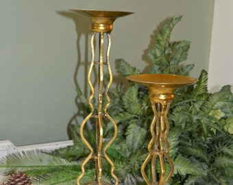 2  Gold Candle Holders  Wedding Home Decor