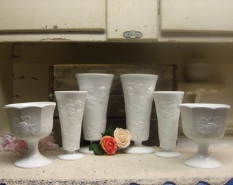 6 Piece Vintage White or Milk Glass Indiana Glass Vases Lot or Set Vintage Wedding Shabby One Compote Has a Chip  B114