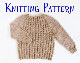 PDF Knitting Pattern - Little Willow Pullover, Ages 0-10 years, Child Sweater, Baby Infant Toddler Knitting Pattern, Kids Jumper Pattern