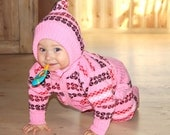 Woolen Wool Baby Girl Toddler Warm Winter Clothes Pants Cardigan, 1970s Soviet Vintage kids clothing, Baby Girl Pink warm clothing