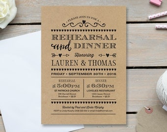 Wedding and Rehearsal Dinner Invitation \ Printable Invite \ Vintage Invite \ Black and White Invite  (RD78)