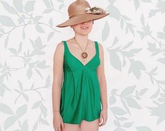 Vintage 70s swimsuit / deadstock maternity green bathing suit / size medium /  bullet bra tankini / romper beach coverup / pregnant swimsuit