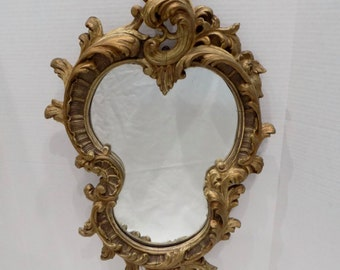 Excpetional  Rococo Heavily Carved Gilt Wood Mirror - Antique Wall Hanging -