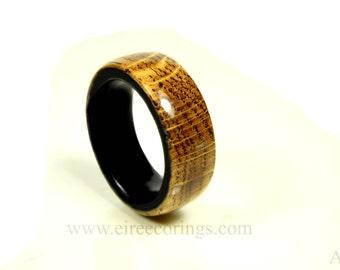 Wood wedding ring for men recycled Jameson whisky barrel and bog Oak