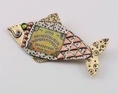 Fish Pin, Fish Necklace, Fish Jewelry, Mixed Metal Fish, Fish Lover Gifts, Whimsical Fish, Artisan Fish, Ouija, Ouija Jewelry, RP0648