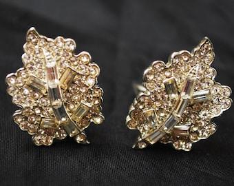 Clear Rhinestone earrings open back silver Floral Leaf  Clip on Earrings