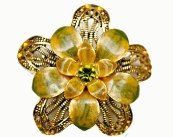 Flower Brooch Olive Green Enamel  Gold filigree pin