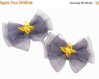Dark blue Bow with Gold Butterfly Shoe Clips