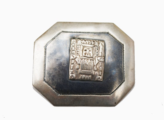 Sterling  Brooch - repousse silver tribal Motif - Niello Black enameling - c clasp pin