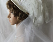 Vintage Inspired Winter White Wool Wedding Hat and Veil
