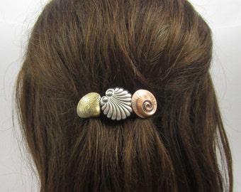 Seashell French Barrette 70mm- Seashell Hair Jewelry- Beach Wear- Cruise Wear-