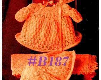 A Best Vintage Baby Dress, Matinee Coat, Bonnet, & Blanket 4-Piece Set #B187  PDF Digital Knit Pattern