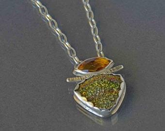 SALE Pyrite Druzy Pendant Necklace, Drusy Pendant Necklace, Rainbow Druzy Necklace, Metalwork Pendant, Statement Necklace