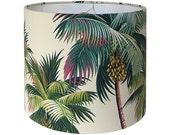 Tropical Lamp Shade - Custom Lamp Shade - Palm Trees Lampshade - Hawaiian Bark Crepe - Green Lampshades - Island Beach Decor - Made to Order