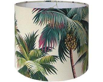 Custom Lamp Shade / Waikiki Lamp Shade / Palm Trees Lampshade / Hawaiian Bark Crepe / Hawaiian Barkcloth / Tropical Beach / Made to Order