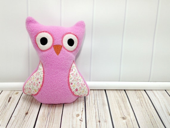 Baby Girl Owl Gift - Soft Owl Plush - Plushie Toy - Pink with Flowers
