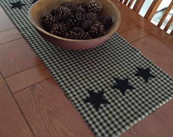 Handmade Black Star on Black Homespun Material Table Runner