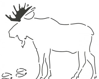 NOTION:  MOOSE STENCIL - Layer Cake Friendly - Animal Template - Applique Template - Wildlife - Nature
