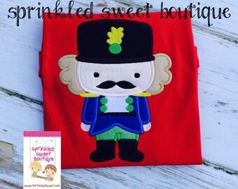 Boys Christmas Nutcracker Applique Shirt Red or White Shirt Onesie Made to Match m2m Eleanor Rose Nutcracker