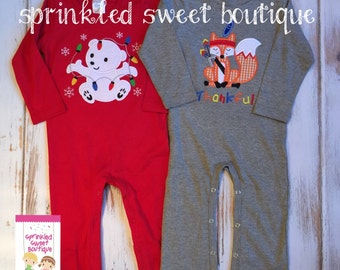 Christmas Boys Red or Grey Holiday Romper Longall Custom Monogram Applique Pick Your Applique