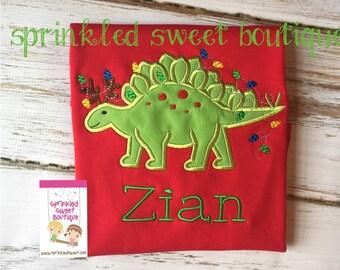 Cute Christmas Dinosaur Dino Holiday Lights Custom Applique Red or White Shirt Boy Girl