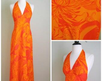 Vintage 1960's Orange Hawaiian Halter Dress