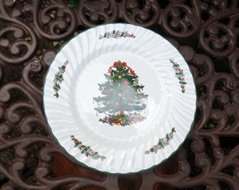 Set of 5-Christmas Village Stoneware Christmas Tree/Holiday Serving Dinner Plates-X5 Dishes