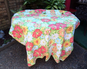 "Vintage Vivid Colorful Bright Florals Tablecloth-100""x120""-Orange/Red/Pink/Green/Yellow-Beautiful"